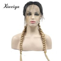 Xiweiya blonde with dark root Double Braids Synthetic Braided Lace Front Wig with Baby Hair Wig Heat Resistant Fiber Middle Part