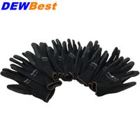 12 pairs Lightness comfortable black polyester nylon work safety gloves,electrician safety gloves Workplace Safety Supplies