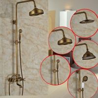 "nekjcag Copper Bathroom 8"" Rain Shower Mixer Faucet Tap Set Chuveiro Torneira"