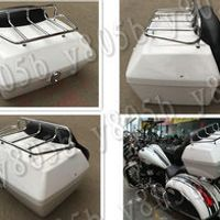 Motorcycle Tail Box Luggage With Top Rack Backrest For Honda Shadow Spirit Sabre Aero ACE Steed VLX 400 600 1100 DLX VTX1300