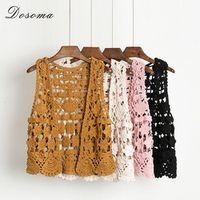 2017 Women Crochet Knitted Shrug Cardigan Summer V-neck Sleeveless Sweater Khaki Slim Short Shrug Hollow Out Cardigans Top