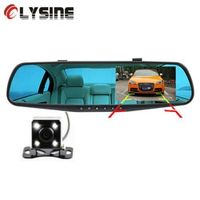 Olysine 4.3'' Car DVR Rearview Mirror with 2 Cameras Dash Cam 1080P Auto