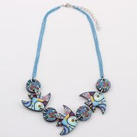 Newei fish necklace acrylic pattern 2017 new jewelry spring summer animal colorful girls woman fashion accessories