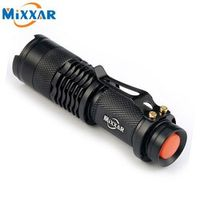 mixxar ZK93 CREE Q5 Mini Black 2000LM Waterproof LED Flashlight 3 Modes Zoomable