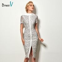 Dressv sexy backless sheath knee length lace cocktail dress