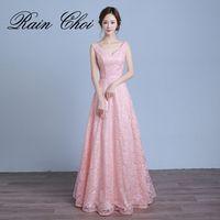 RAIN CHOI Real Photo Women Long Formal Evening Dresses 2017