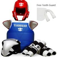 Taekwondo WTF Gear Protector 6pcs/set Adult Kids Child Thickening Chest Protector Karate Helmet Arm & Shin Guard Bag teeth guard
