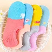 Japanese Vivid Color Nonslip Women Cotton Slippers Socks Color Matching Thin Female Sock Sweet Summer Short Invisible Sox