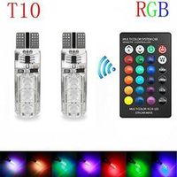 RV77 2017 Remote Control T10 5050 Car LED 6 Smd Multicolor W5W 501 Side Light Bulbs
