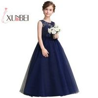 xunbei Navy Flower Girl Dresses First Communion Dresses