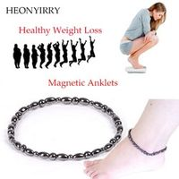 HEONYIRRY 2 Pc/lot Magnet Black Stone Magnetic Therapy Bracelet Anklet Weight Loss