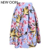 OOPS Women Pink Skirts 2016 Vintage Chinese Floral Print Pleated Pink Women Midi Skater Skirt High Waisted Flared Saias A148022
