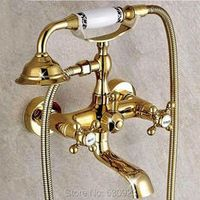 Shinesia Newly Wall Mounted Bathtub Faucet Retro Golden Polish Ceramics Dual Handles