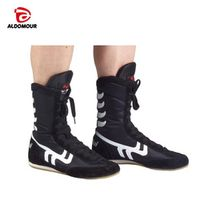 ALDOMOUR Authentic VeriSign Wrestling Shoes For Men Training Shoes Tendon at the end Leather Sneakers Professional Boxing Shoes