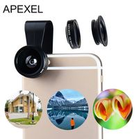 Apexel Fish eye Lens 3in 1 Clip-on Cell Phone Camera 180 Degree Fisheye Wide Angle