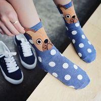 1 Pair Cute Dots Socks Fashion Kawaii Women Socks Cartoon Dogs Socks For Female Casual Cotton Funny Socks 5 Colors HO969210