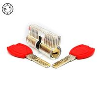 Cutaway Inside View Practice Transparent Padlock Lock Training Skill Pick Padlock For Locksmith Hardware With Super Red Keys