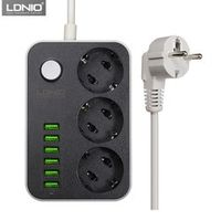 LDNIO Smart Power Strip Charging 6 USB Port 5V 3.4A Charger Adapters 3 AC Power