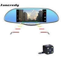 tancredy 7 inch TFT LCD Car Rearview Mirror Monitor Support V1 V2 2 Ways Video Input