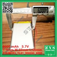ZhiYuSun 906090 3.7V 6000mah Lithium polymer Battery with Protection Board For PDA