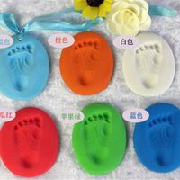 7 Colors  Baby Care Air Drying Soft Clay Baby Handprint Footprint Imprint Kit Casting Parent-child Hand Inkpad Fingerprint