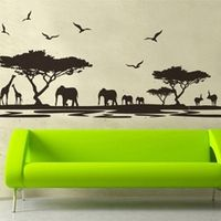 colormood 160*75cm black africa grasslands wall stickers