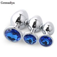 Gennadiya 1pcs/Set Stainless Steel Metal safe medical Anal Beads Anus tube Crystal
