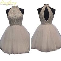 Huifany Bridal White Prom Dresses Tulle Halter Dresses with