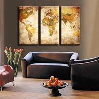 3 Pcs/Set Classic World Maps Wall Art for Living Room Retro Yellow Maps Painting Prints On Canvas Home Decoration Picture