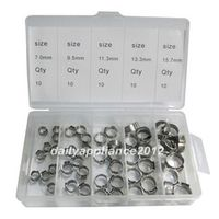 50 PCS Stainless Steel 304 Single Ear Hose Clamps Assortment Kit