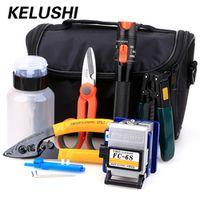 KELUSHI 15pcs/set FTTH Tool Kit with FC-6S Fiber Cleaver 10mW Visual Fault Locator