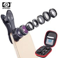 APEXEL 7 in 1 Phone Lens Kit Fisheye fish eye super Wide Angle macro Lens CPL Filter