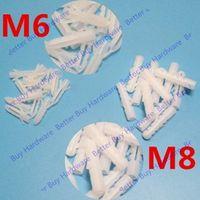 60pcs M6/M8 White Plastic expansion tube pipe rubber plastic nylon bulge anchor the rubber plug Torpedo type expansion tube