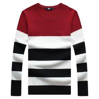 new fashion o neck long sleeve men sweater striped knitted pullovers 3 color size M 3XL 4XL 5XL C823