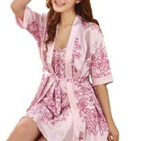 Promotion ! 2014 new arrival 2 pcs silk imitation women pajamas flower print robe sets plus size women cardigans