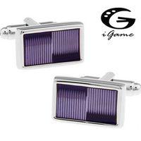 Men Gift Violet Cuff Links Wholesale&retail Purple Color Copper Material Fashion Rectangle Enamel Design
