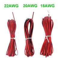 10M 20M 2-Pin 18AWG 20AWG 22 AWG Electric Red Black / Round Black / Round White Extension Wire LED Cable