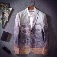 Spring and autumn male slim personalized print blazer men's gold suit outerwear men's clothing