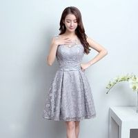 Free Shipping gray O-neck Transparent Flowers Mini Bridesmaid Dresses Girls Short Party Gowns 2017 Summer LF829