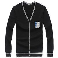 New Sale Autumn Clothing Mens Black Cardigans  Anime Attack on Titan Series Sweater Coat Casual Style Tops Knitwear For Unisex