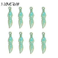 Wholesale 30pcs Feather Leaf Charms Vintage Green and Gold Pendent Tibetan silver Pendent Findings for Jewelry Making