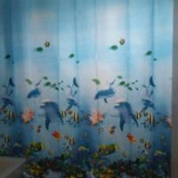 SeaLife Waterproof Fabric Shower Curtain for bathroom Sanitary Ware Suite Light Blue with 12 Hooks cortinas de 180*180cm AA