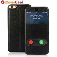 icovercase Coque SE Cover Window View Case Flip Leather for iPhone 5 5s 7 6 6s Plus