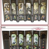 6Pieces Panda Folding Chinese Traditional Lacquerwork