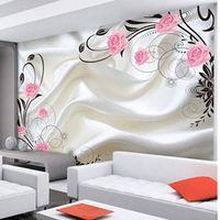 Customized Size Modern Design Non-woven 3D Silk Textured Rose Photo Mural Wall Paper for Living Room Decor Simple Art Wallpaper