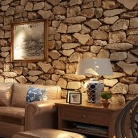Vintage 3D Stereo Brick Wallpaper Rock Wallpaper Imitated Stonewall Restaurant Hotel Living Room Background Wallpaper