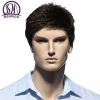 MSIWIGS Straight Short Men Wigs Heat Resistant Japanese Fiber Dark Brown Natural Hair Male Synthetic Wig