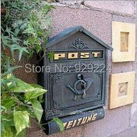 DesserXixi Cast Iron Wall with Newspaper Letters Post Box