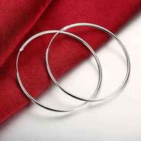 Fashion Design silver plated women earings big Smooth Circle hoop earrings brincos jewerly accessories SMTE042
