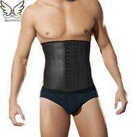male slim belt waist trainer corsets for men Compression Garment waist trainer latex waist cincher body belt slimming men